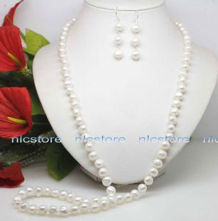 Charming Jewelry set white pearl necklace + earrings