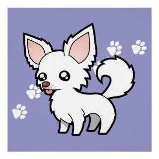 Cartoon Chihuahua (white long coat) posters by SugarVsSpice