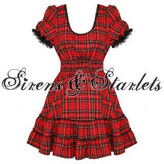 Damen Kleid Hell Bunny Mavis Rot Tartan Gothic Lolita Punk Emo Party