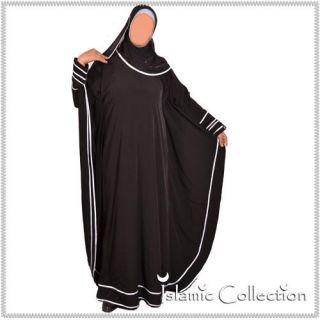 Schwarz / Weiß Jilbab Hijab Islamische Kleidung 16 3005