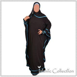 Schwarz Türkis Jilbab Hijab Islamische Kleidung 16 3008