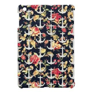 Vintage white wood nautical anchors retro floral iPad mini cases
