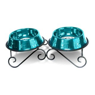 Platinum Pets Double Scroll Diner Stand with Stainless Steel Bowls   Dog   Boutique