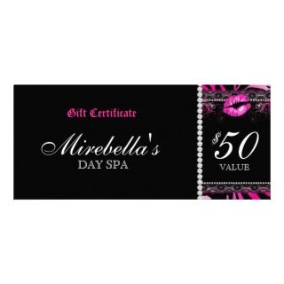 Makeup Gift Certificate Lips n Lace Zebra Rack Card Design
