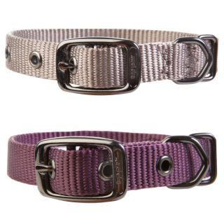 Top Paw Nylon Dog Collar   Beige, Plum