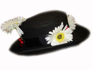 Custom Boutique Halloween Mary Poppins Nanny Girls Size Black Felt Hat
