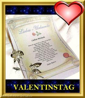 Ich LIEBE Dich Urkunde GESCHENK Valentin VALENTINSTAG