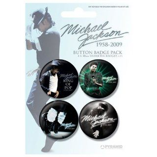 Michael Jackson Button Set 1958 2009 (blue)   4er Set