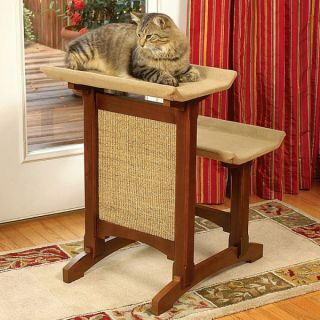 Mr. Herzher's Deluxe Double Seat Wooden Cat Perch with Sisal   Brown