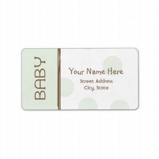 Baby Shower Label   Green and Brown