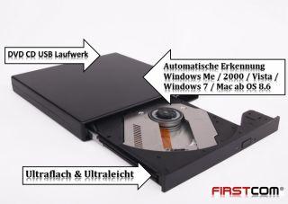NEU DVD CD Laufwerk Extern USB Super Slim für PC / Notebook / Netbook