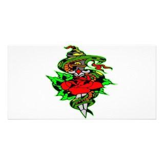 Snake Dagger & Rose Tattoo Photo Card