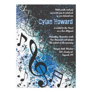 CRAZY MUSICAL NOTES Bar Mitzvah Invitation invitations by Marlalove73