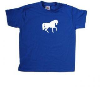 Pferd Kinder T Shirt, Blau Bekleidung