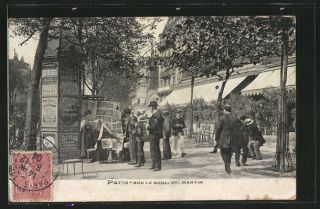 schöne AK Paris, sur le Boul St. Martin, Litfaßsäule 1904