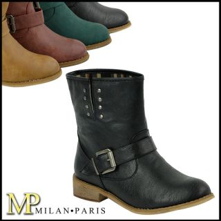Damen Biker Boots 94758 Schuhe Stiefelette Nieten 36 41