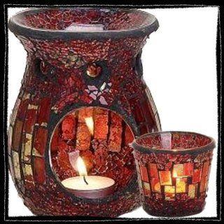 Duftlampe Mosaik   rot/gold, inkl. Teelichthalter Küche