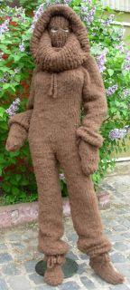SUPER KID Mohair Langhaar Catsuit Overall Sweater XL XXL Fetisch braun