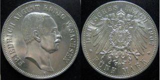 B419 J.136 Sachsen 5 Mark 1907 Friedrich August III.