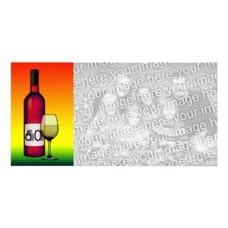 60th birthday or anniversary  wine bottle & glass photo cards