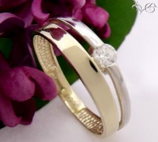 Damenring / Ring bicolor mit Zirkonia 333 Gold Weite 54 62