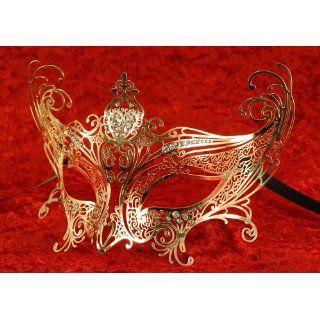 Original Venezianische Maske metall   Catwoman Completa Gold Luxus
