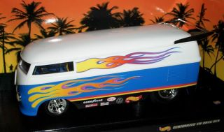 Hot Wheels Volkswagen VW DRAG BUS blue white/flames   1:18
