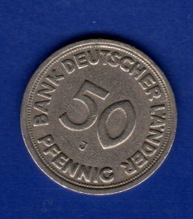 50 Pfennig 1949 J Bank deutscher Laender BDL Deutschland BRD