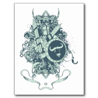 Skull ~ Shield & Armor Skull Fantasy Art Postcard