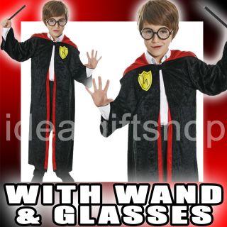 CHILDRENS WIZARD BOY HALLOWEEN BLACK VELOUR ROBE GLASSES & WAND FANCY