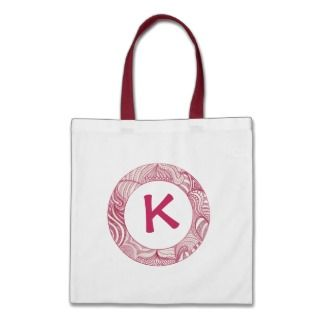 Monogrammed canvas bags, violet zentangle