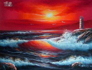 SONNENUNTERGANG ÖLGEMÄLDE Gemälde Bild Oil Painting  Geschenkideen