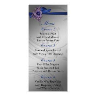 FAUX ribbon navy blue and silver wedding menu Custom Rack Cards