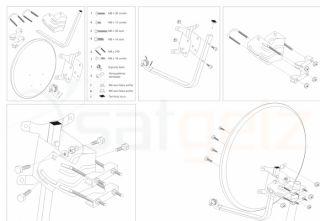 ALU SAT Anlage Schüssel Antenne 80cm + QUAD LNB DIGITAL Aluminium