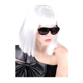 Weisse Peruecke Pop Prinzessin Lady GaGa Halloween Fasching Kostuem