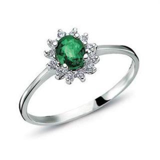 Goldring Smaragd Diamant Brillant Gold Smaragdring 585 Weissgold Ring