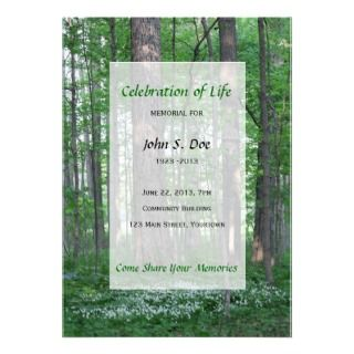 Memorial Celebration of Life   Forest Scene Custom Announcement