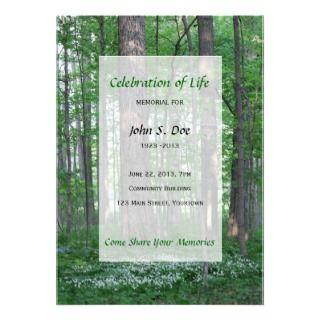 Memorial Celebration of Life   Forest Scene Custom Announcement