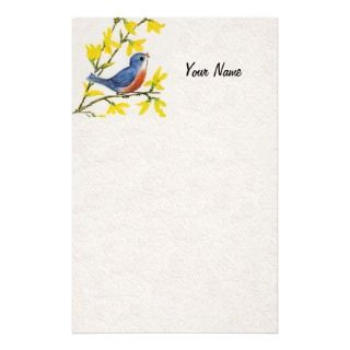 Cute Singing Blue Bird Tree Custom Stationery