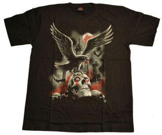 Gothic T Shirt mit Raben Friedhof Aufdruck