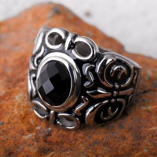 Prachtstück Onyx Edelstahl Gothic Stahl Siegel Ring