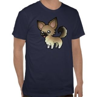Cartoon Chihuahua (fawn sable long coat) t shirts by SugarVsSpice