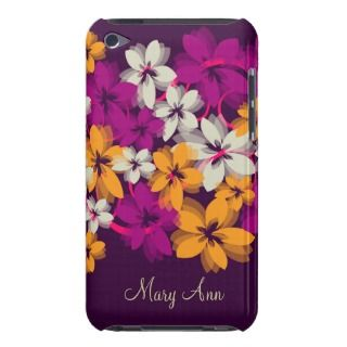 Blossoms & Swirls Plum Purple W/ Custom Name iPod Touch Case Mate Case