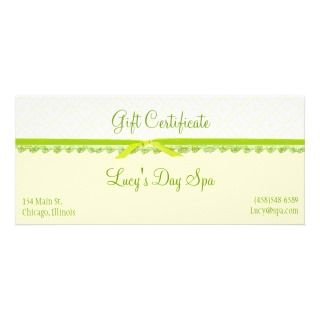 and Green Gift Certificate Cards Rack Card Template