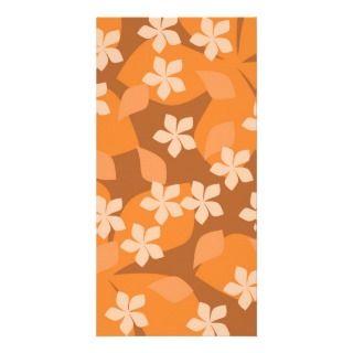 Flores anaranjadas. Modelo floral retro Tarjetas Fotograficas de