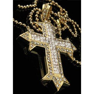 HIP HOP ICED BLING KREUZ KETTE 50 CENT CROSS 2GLD: Sport