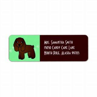 Cute Chocolate Cocker Spaniel Cartoon Green Custom Return Address