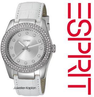 Damenuhr Turnaround White ES104012002 Leder Weiss Damen Uhr NEU UVP 99