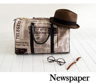 Womens Newspaper Print Shoulder Bag Handbag Purse A138 GB