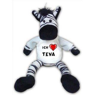 Plüschtier Zebra mit Ich liebe Teva T shirt Spielzeug